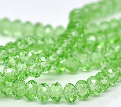 100 Light Green Crystal Glass Faceted Rondelle Beads 6x4.6mm